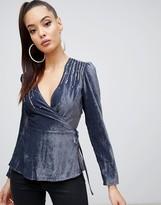 Asos Design DESIGN velvet embellished wrap long sleeve top