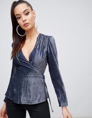 Asos Design DESIGN velvet embellished wrap long sleeve top-Purple