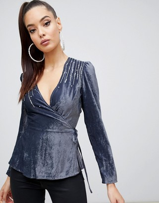 ASOS DESIGN velvet embellished wrap long sleeve top