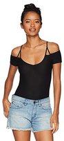 Derek Heart Women's Scoop Neck Cold Shoulder Bodysuit