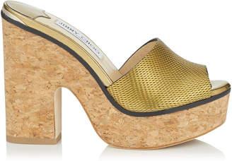 Jimmy Choo DEEDEE 125 Gold Net Embossed Liquid Mirror Leather Sandal Wedge