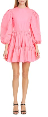 Valentino Long Sleeve Tiered Taffeta Minidress