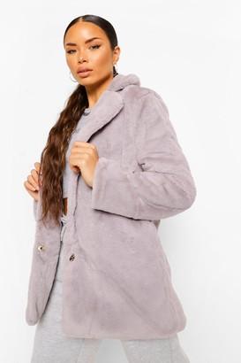 boohoo Petite Collar Faux Fur Coat