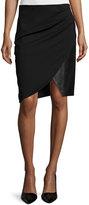 Halston Draped Combo Pencil Skirt, Black