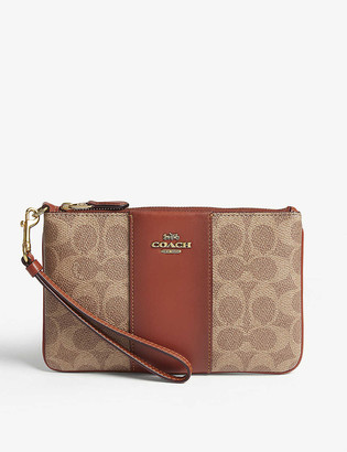 Coach Leather coated canvas pouch