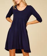Navy Three-Quarter Sleeve Empire-Waist Dress - Plus