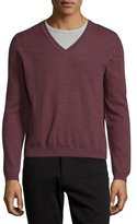Just Cavalli Long-Sleeve V-Neck Wool Sweater, Brick