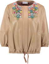 RED Valentino Appliqué-paneled leather jacket