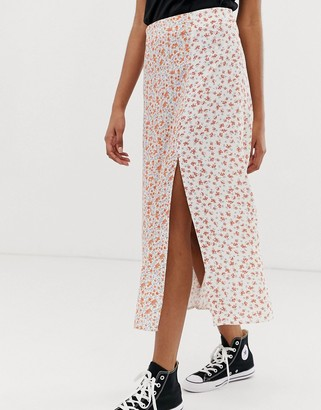 New Look split midi skirt in floral print