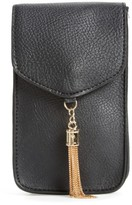 Amici Accessories Tassel Faux Leather Phone Crossbody Bag - Black