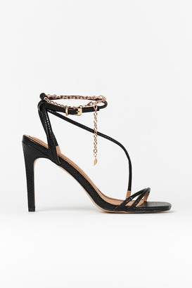 Wallis Black Ankle Chain Strap Heels