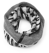 Diane von Furstenberg Darrene Animal Print Circle Scarf In Black/ White/ Light Heather Grey