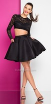 Terani Couture Embellished Two Piece Long Sleeve Cropped Homecoming Dress