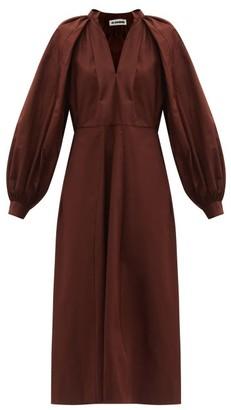 Jil Sander Balloon-sleeve Cotton-poplin Midi Dress - Dark Brown