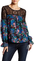Romeo & Juliet Couture Flower Print Lace Illusion Yoke Blouse