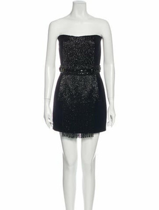 Balmain Strapless Mini Dress Blue