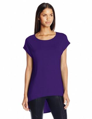 Star Vixen Women's Scoop Neck Short Sleeve High-Low Comfy Knit Tunic Top