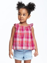 Old Navy Linen-Blend Ruffled Top for Toddler Girls