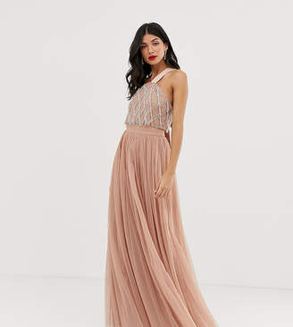 Asos Tall DESIGN Tall embellished top halter tulle maxi dress-Pink