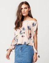 Hip Floral Split Sleeve Womens Off The Shoulder Top