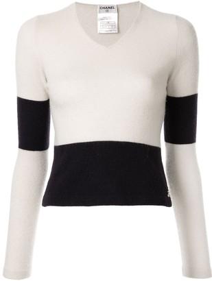 Chanel Pre-Owned panelled V-neck jumper