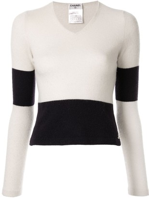 Chanel Pre Owned panelled V-neck jumper