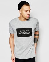Cheap Monday T-Shirt Standard Nuclear Box Logo Print in Gray Melange