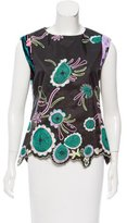 Christian Lacroix Velvet-Trimmed Embroidered Top