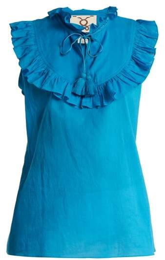Figue Lila Ruffle-trimmed Cotton Top - Womens - Blue