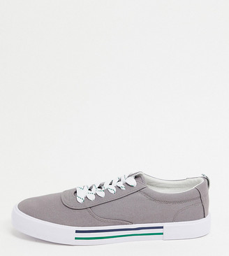 ASOS DESIGN Wide Fit lace up plimsolls in grey with navy and green detailing