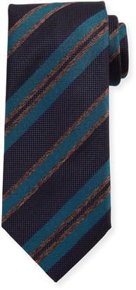 Brioni Basketweave Stripe Silk Tie