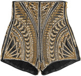 Balmain Embellished leather shorts