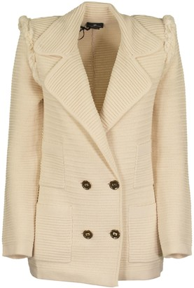 Elisabetta Franchi Celyn B. Cotton Blazer Jacket Butter