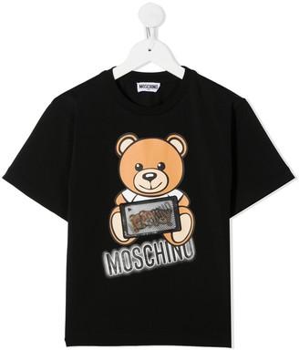 MOSCHINO BAMBINO graphic logo print T-shirt