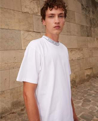 The Kooples White cotton t-shirt with ribbed logo collar