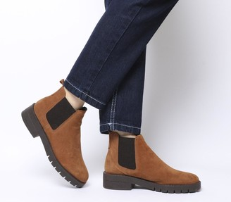 Office Aimee Cleated Chelsea Boots Tan Suede