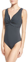Karla Colletto Ruffle Twist Underwire One-Piece Swimsuit, Black