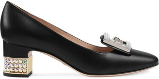 Gucci Leather mid-heel pump with crystal G