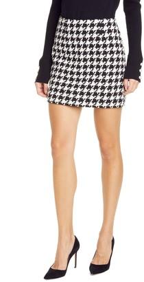 L'Agence Livia Houndstooth Cotton Blend Miniskirt