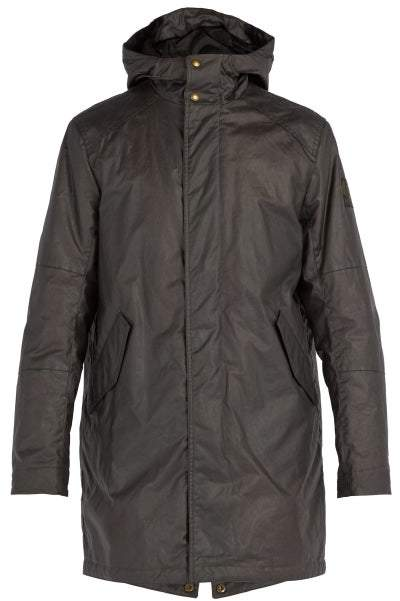 Belstaff Chevington Waxed Cotton Hooded Parka - Mens - Dark Grey