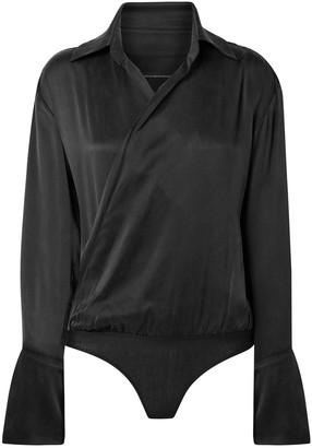 Kiki de Montparnasse Wrap-effect Washed-silk Bodysuit