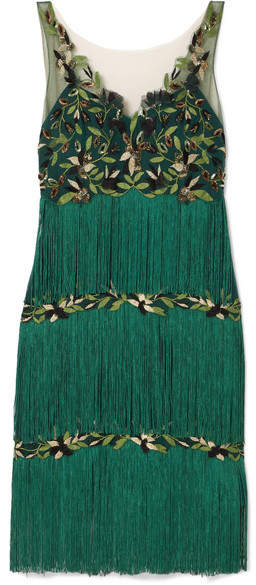 Marchesa Fringed Embroidered Tulle Dress - Emerald