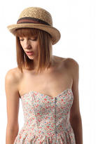 Urban Outfitters Grace Straw Bowler with Two-Tone Band