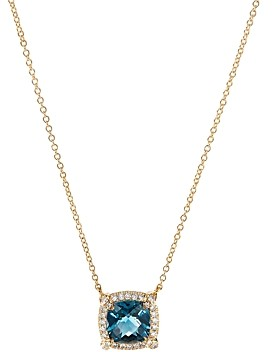 David Yurman Petite Chatelaine Pave Bezel Pendant Necklace in 18K Yellow Gold with Hampton Blue Topaz, 18