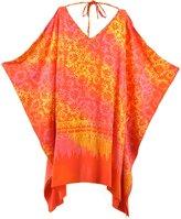 Lifestyle Batik Grade 1 Rayon Batik Sun Flowers PLUS SIZE TUNIC PONCHO CAFTAN TOP 09 (3X/4X, )
