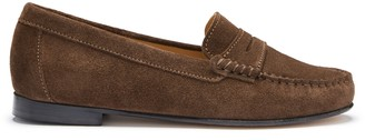 Hugs & Co Womens Penny Loafers Leather Sole Brown Suede