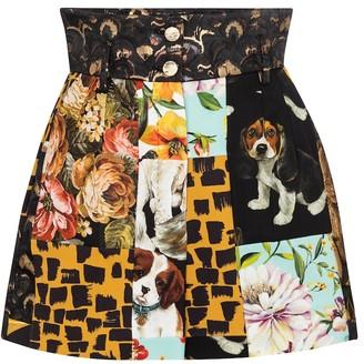 Dolce & Gabbana High-rise patchwork jacquard shorts