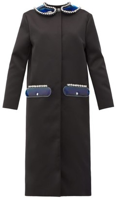 Christopher Kane Pvc-collar And Pocket Satin Coat - Womens - Black
