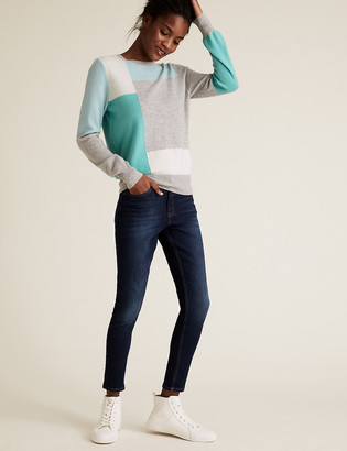Marks and Spencer Pure Cashmere Colour Block Jumper