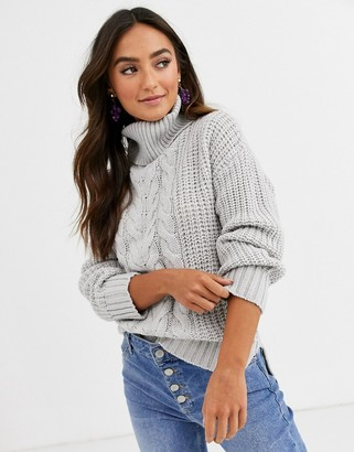 Brave Soul opium jumper in patchwork cable knit-Grey